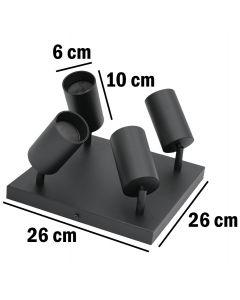 Kinkiet sufitowy 4x GU10 SPOT Lampa LED QUALIS IV Czarny + pierścień czarny