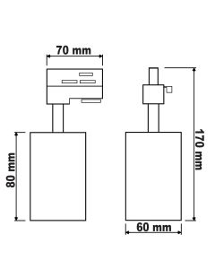 Reflektor Szynowy GU10 BRICK Czarny do Szynoprzewodów Jednofazowych