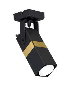 Lampa sufitowa ścienna Kinkiet 1x GU10 Spot Loft Czarny + Złoty VIDAR Milagro