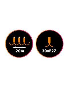 Girlanda Ozdobna Zewnętrzna Łańcuch 20m 20xE27 do LED