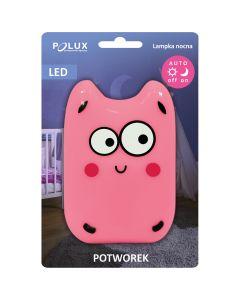 Lampka do gniazdka nocna POTWOREK LED zimna różowa 0,4W POLUX lampka dla dzieci