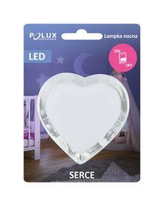 Lampka do gniazdka lampka nocna SERCE LED biała 0,4W POLUX