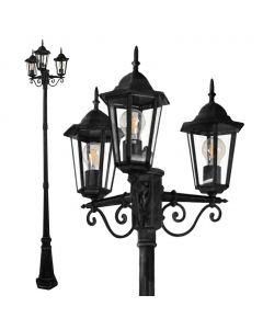Lampa Ogrodowa parkowa stojąca Słupek Latarnia LIGURIA POLUX 3X E27 czarna 2,5m