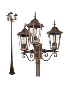 Lampa Ogrodowa parkowa stojąca Słupek Latarnia LIGURIA POLUX 3X E27 patyna 2,5m