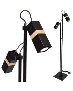 Lampa stojąca podłogowa czarna 2xGU10 VIDAR Milagro Metal + drewno styl skandynawski