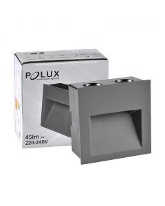 Lampa oprawa schodowa podtynkowa LED ogrodowa 3W 45lm IP44 4000K szara Q7 Polux