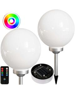 Lampa ogrodowa LED RGB SOLARNA KULA Wbijana 30cm Biało-srebrna + Pilot VOLTENO