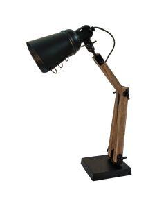 Lampa biurkowa stołowa nocna E14 loft industrial retro Volteno drewno + metal
