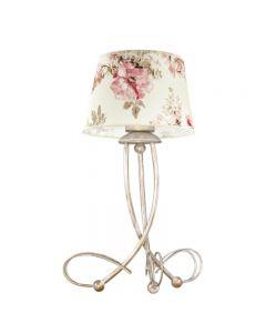 Klasyczna lampa stołowa biurkowa nocna w kwiaty do sypialni abażur z tkaniny 1 x E27