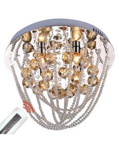 Żyrandol kryształowy Lampa sufitowa Valencia 4x E14 Metal i szkło Lampex Styl Glamour + pilot