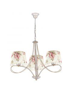 Klasyczna lampa wisząca sufitowa w kwiaty żyrandol do salonu sypialni abażur z tkaniny 3 x E27