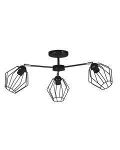 Nowoczesna lampa wisząca sufitowa czarna żyrandol do sypialni 3 x E27