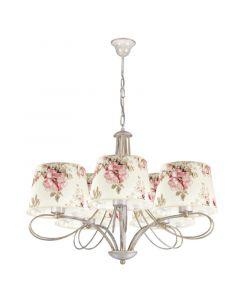 Klasyczna lampa wisząca sufitowa w kwiaty żyrandol do salonu sypialni abażur z tkaniny 5 x E27