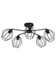 Nowoczesna lampa wisząca sufitowa czarna żyrandol do sypialni 5 x E27