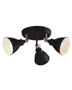 Nowoczesna lampa sufitowa czarna żyrandol na korytarz do przedpokoju 3x E14