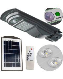 Lampa Uliczna SOLARNA oprawa LED Szara 20W 6000K Zimna 1000lm IP65 CZUJNIK RUCHU z PILOTEM