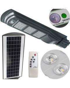 Lampa Uliczna SOLARNA oprawa LED Szara 60W 6000K Zimna 3000lm IP65 CZUJNIK RUCHU z PILOTEM