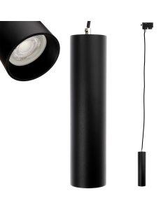 Lampa szynowa wisząca GU10 LED TRACTUS 24 cm + Pierścień Czarny