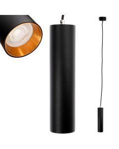 Lampa wisząca GU10 LED CIRCUS 24 cm Czarna + Pierścień Złoty