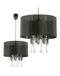 Lampa wisząca Camilla Czarna 1x E27 Metal abażur tkanina szkło kryształki Lampex styl glamour