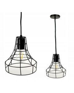 Lampa wisząca sufitowa druciana z drutu loft industrial czarna E27