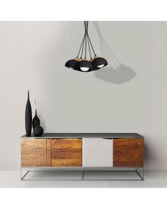 Lampa wisząca w stylu skandynawskim sufitowa czarna MiLAGRO DAMA 5x E27 Drewno + metal