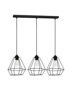 Lampa wisząca w stylu industrialnym sufitowa czarna druciana MiLAGRO Alma 3x E27