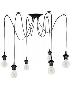 Lampa wisząca sufitowa PAJĄK 6 Ramion Oprawy na klosze 6x E27 Czarna Styl industrialny Loft