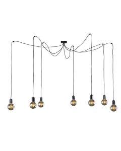 Nowoczesna lampa wisząca sufitowa czarna żyrandol pająk 7 x E27