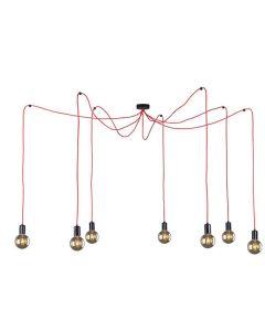 Nowoczesna lampa wisząca sufitowa czerwona żyrandol pająk 7 x E27