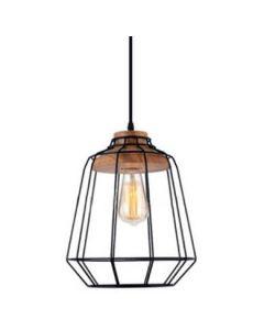 lampa drewno metal