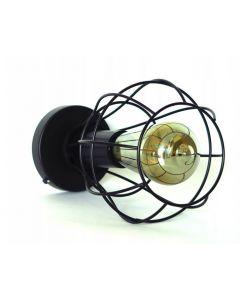 Lampa wisząca sufitowa czarna druciana owalna E27 loft industrial