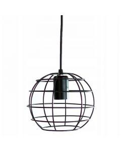 Lampa wisząca sufitowa czarna druciana kula E27 loft industrial