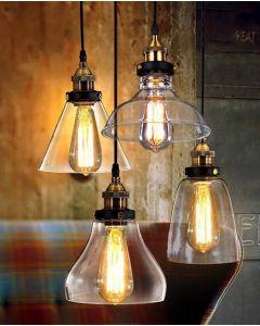 Lampa wisząca sufitowa szklana retro vintage loft E27 Volteno Milo D