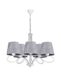 Klasyczna lampa wisząca sufitowa srebrna biała żyrandol do salonu abażur z tkaniny 5 x E27