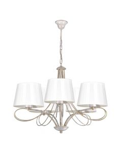 Klasyczna lampa wisząca sufitowa złota beżowa żyrandol do salonu abażur z tkaniny 5 x E27