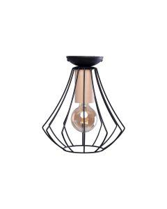 Lampa sufitowa żyrandol WILL 1x E27 LOFT Czarna Metal + drewno Milagro