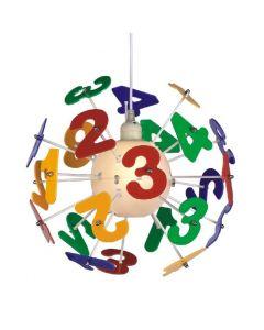 Lampa wisząca sufitowa kolorowa dziecięca żyrandol dla dzieci cyferki dla przeszkolaka 1 x E27