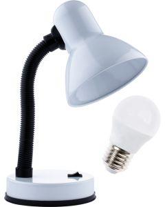 Lampka biurkowa szkolna E27 GAMA KM4010-BL biała + Żarówka LED 7W 3000K KM LUMILED