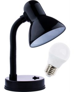 Lampka biurkowa szkolna E27 GAMA KM4010-CN czarna + Żarówka LED 7W 3000K KM LUMILED