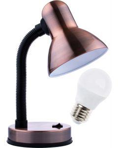 Lampka biurkowa szkolna E27 GAMA KM4010-MP patyna miedź + Żarówka LED 7W 3000K KM LUMILED