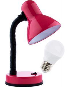 Lampka biurkowa szkolna E27 GAMA KM4010-RU różowa + Żarówka LED 7W 4000K KM LUMILED
