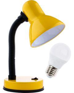 Lampka biurkowa szkolna E27 GAMA KM4010-ZL żółta + Żarówka LED 7W 3000K KM LUMILED