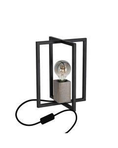 Lampka stołowa Industrialna meblowa Ralph 1x E27 Czarna Metal + drewno Milagro