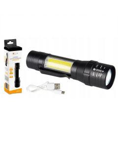 Latarka taktyczna akumulatorowa 2w1 LED COB, XML T6 600LM ZOOM 4 TRYBY LB0172 LIBOX