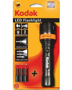 LATARKA RĘCZNA, LED flashlight  60lm + 3xAAA IP62 czarna KODAK