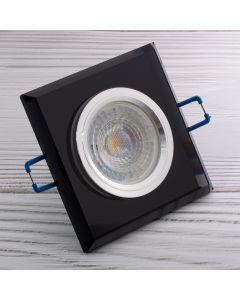 Oprawa halogenowa SZKLANA Sufitowa LED GU10 MR16 stała Ariel czarna kwadratowa