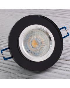 Oprawa halogenowa SZKLANA Sufitowa LED GU10 MR16 stała Okrągła Ariel czarna