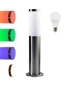 Lampa Ogrodowa LED Słupek E27 Niska + żarówka LED 9W OSRAM RGB