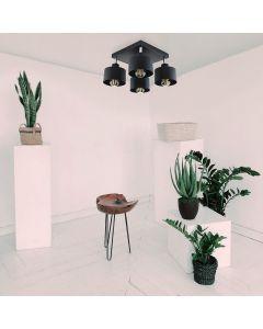 Lampa sufitowa TRAGULA czarna SPOT kwadratowa do LED 4x E27 LUMILED